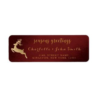 Étiquette Renne d'or de Bourgogne de Joyeuses Fêtes