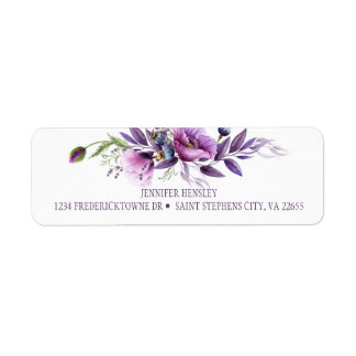 Étiquette Retour pourpre violet Address| de fleurs sauvages