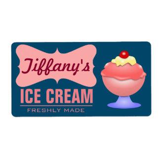 Étiquette Rétro crème glacée rose du parfait | du glacier |