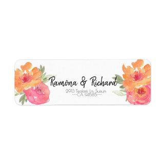 Étiquette rose chic de retour de mariage de fleur