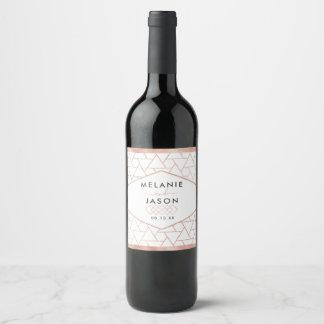 Étiquette rose géométrique moderne de vin de