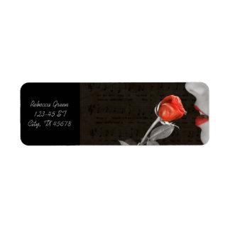 Étiquette rose rouge de jour de valentines de flourish de