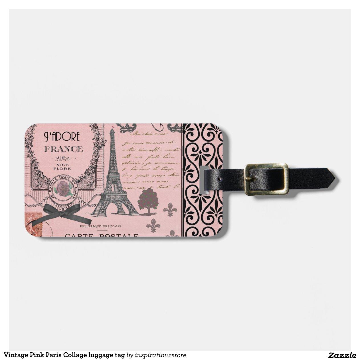 tiquette rose vintage de bagage de collage de par tiquette de bagage zazzle. Black Bedroom Furniture Sets. Home Design Ideas