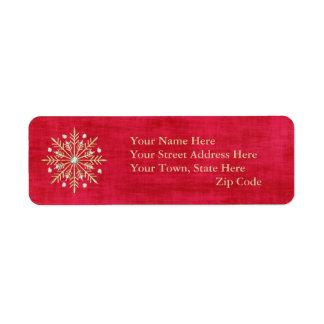 Étiquette Rouge et or de flocons de neige de Noël