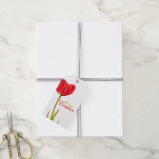 Étiquettes-cadeau Étiquette rouge heureuse de cadeau d'aquarelle de