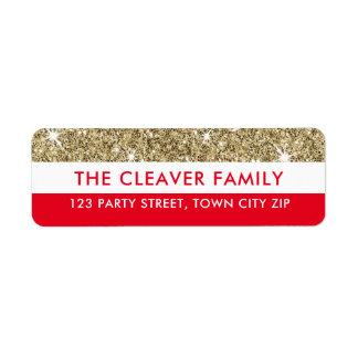 Étiquette Rouge moderne de parties scintillantes d'or de
