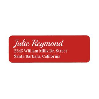 Étiquette rouge vif d'adresse de retour