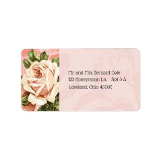 Étiquette Rougissent l'adresse botanique de rose de cru