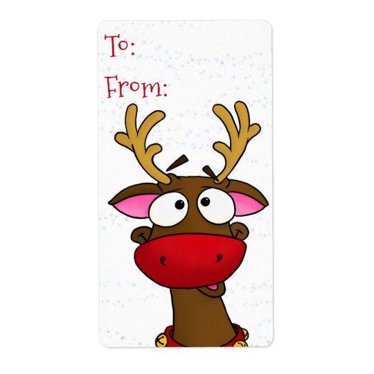 Étiquette Rudolph, autocollants d'étiquette de cadeau