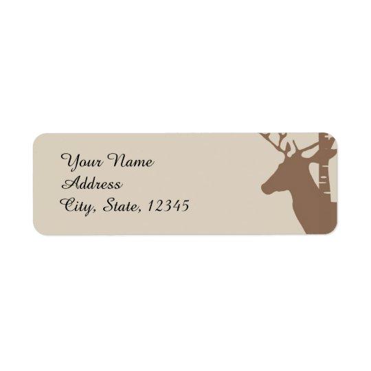 Étiquette rustique de mariage d'arbres et de cerfs