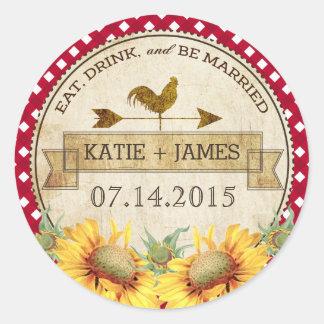 Étiquette rustique de mariage de coq de tournesols