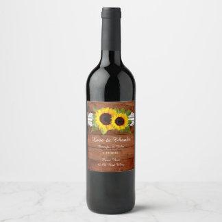 Étiquette rustique de vin de collection de mariage