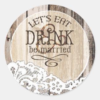 Étiquette rustique en bois et de mariage