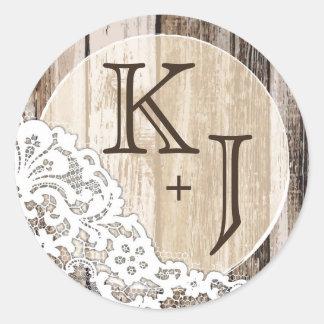 Étiquette rustique en bois et de mariage de