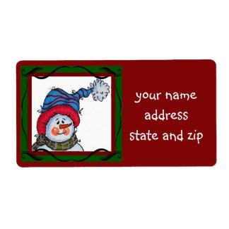 Étiquette Sammy l'étiquette de adresse de bonhomme de neige