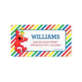 Étiquette Sesame Street   Elmo - anniversaire d'arc-en-ciel
