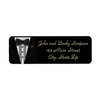 Étiquette Smoking noir avec la cravate d'arc