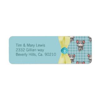 Étiquette Souris dans le baby shower, le vert et le jaune de