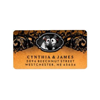 Étiquette Squelettes élégants noirs oranges de mariage de
