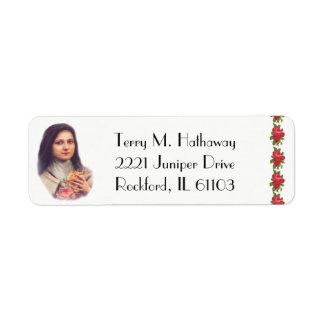 Étiquette St Therese les roses rouges de petite fleur