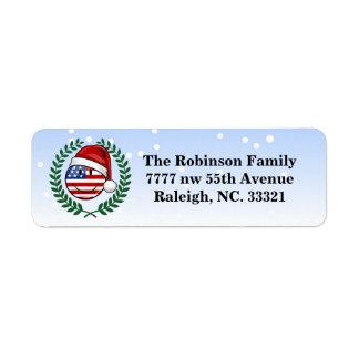 Étiquette Style gai de Noël de drapeau américain