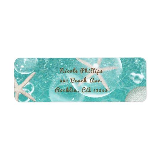 Étiquette Teal a enchanté des étoiles de mer de mer et