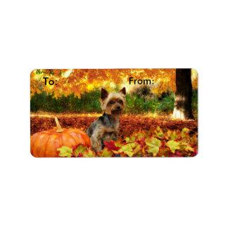 Étiquette Thanksgiving de chute - Tucker - Yorkie