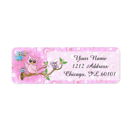 Étiquette Thème rose de douche du hibou | de bébé