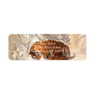 Étiquette Tigre et petit animal - tigre