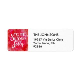 Étiquette Tis la typographie rouge de blanc d'aquarelle de