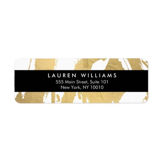 Étiquette Traçages abstraits d'or de Faux sur le blanc