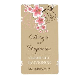 Étiquette tropical de vin de mariage de rose de