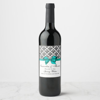 Étiquette turquoise de bouteille de vin de la