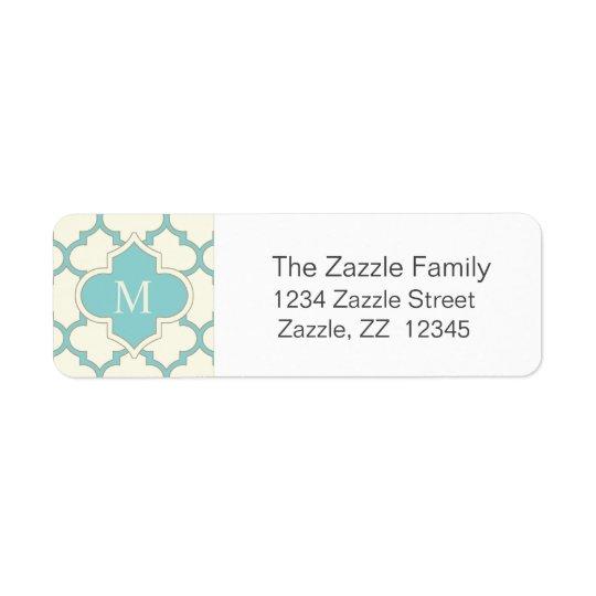 Étiquette Turquoise moderne d'ivoire de motif de Quatrefoil