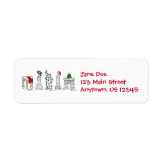Étiquette Vacances de points de repère de Noël de Noël de