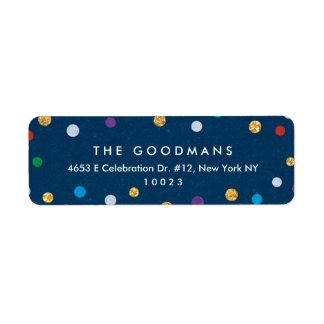 Étiquette Vacances/partie colorées mignonnes de confettis