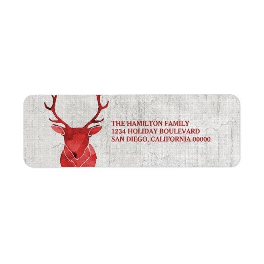 Étiquette Vacances rustiques rouges de cerfs communs