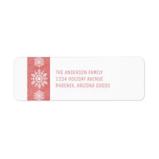 Étiquette Vacances rustiques rouges de flocon de neige