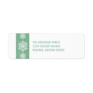 Étiquette Vacances rustiques vertes de flocon de neige
