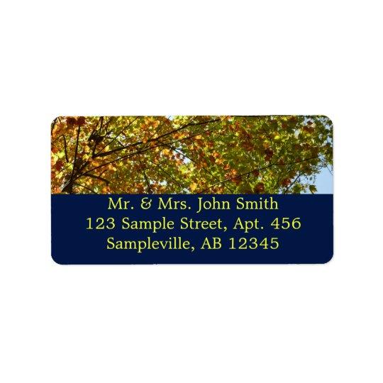 Étiquette Vert d'arbre d'érable et automne changeants d'or