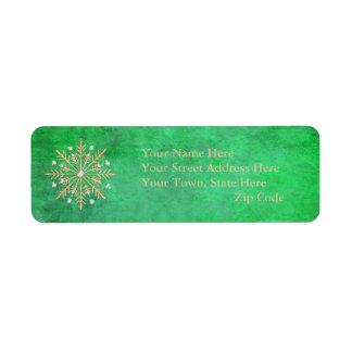 Étiquette Vert et or de flocons de neige de Noël