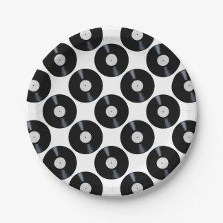 Étiquette vide de disque de blanc assiettes en papier