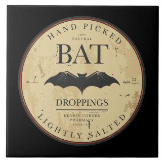Étiquette vintage de Halloween de crottes de batte Carreau