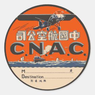 Étiquette vintage de transports aériens
