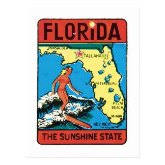 Étiquette vintage d'état de la Floride FL de voyag Cartes Postales
