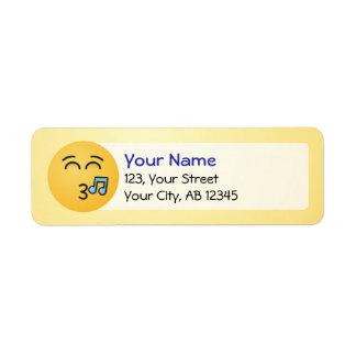 Étiquette Visage siffleur avec les yeux de sourire