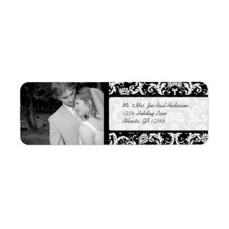 Étiquette Votre damassé noire vintage de mariage de photo