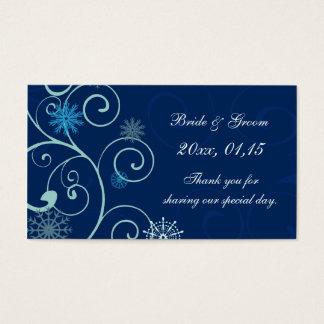 Étiquettes bleues de faveur de mariage d'hiver de cartes de visite