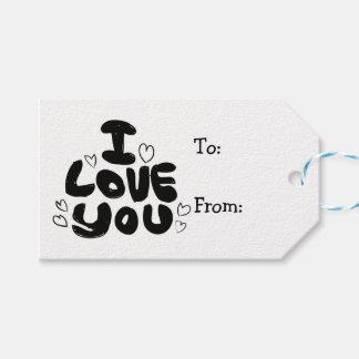 Étiquettes-cadeau Amour et coeurs noirs et blanc - mariage,