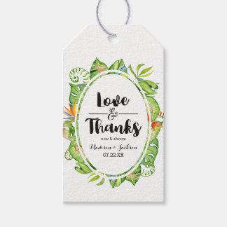 Étiquettes-cadeau Amour et mercis en feuille de palmier tropicaux de